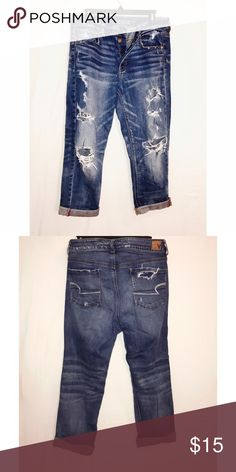 Tom girl crop jeans AE loose fitting, destroyed tomgirl crops with button fly American Eagle Outfitters Jeans Ankle & Cropped