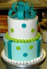 turquoise-and-lime-green cake