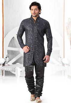 Buy Dark Blue and Silver Jacquard Readymade Sherwani online, work: Embroidered, color: Dark Blue / Silver, usage: Party, category: Mens Wear, fabric: Jacquard, price: $125.90, item code: MAN22, gender: women, brand: Utsav