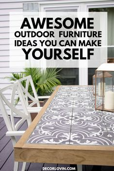 DIY Outdoor Furniture Projects For Your Backyard Wonderful way to incorporate tile into furniture for outdoor living! The post DIY Outdoor Furniture Projects For Your Backyard appeared first on Outdoor Diy. Farmhouse Outdoor Dining Tables, Outdoor Tables, Outdoor Table Decor, Diy Outdoor Kitchen, Outdoor Tile For Patio, Dining Table Upcycle, Outdoor Mosaic Tiles, Outdoor Table Plans, Outdoor Sofas
