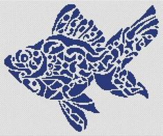 Tribal Fish is a monochrome cross stitch chart from White Willow Stitching. White Willow Stitching creates counted Cross Stitch Charts from Pagan to Christian, Fantasy to photo and Angels to Animals. Cross Stitch Sea, Cross Stitch Animals, Cross Stitch Kits, Cross Stitch Charts, Cross Stitch Designs, Beading Patterns, Embroidery Patterns, Cross Stitch Patterns, Cross Stitching