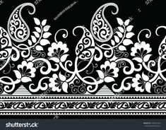 Textile Pattern Design, Batik Pattern, Textile Patterns, Textile Prints, Pattern Art, Textiles, Border Embroidery Designs, Embroidery Patterns, Paisley Stencil