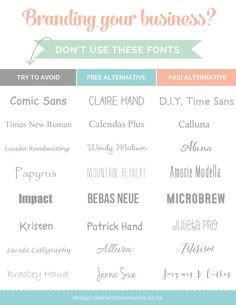 fonts to avoid when branding your business