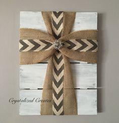 Fabric Cross On Wood Fabric Cross Christian by CrystalizedCreates