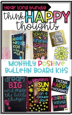 Monthly POSITIVE Bulletin Board Kits for bulletin boards and door decor! Letter templates, writing pages and coordinating crafts included for each month!