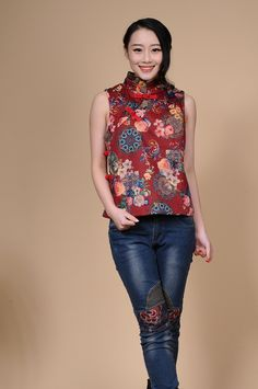 European spring new national wind printing short paragraph vest; Pankou collar vest Chinese style;  Floral shirt printing - http://www.aliexpress.com/item/European-spring-new-national-wind-printing-short-paragraph-vest-Pankou-collar-vest-Chinese-style-Floral-shirt-printing/32285437796.html
