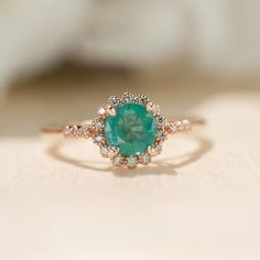 Natural Emerald Ring, Rose Gold Ring, Halo Engagement Ring, Promise Ring, Unique Engagement Ring, Vintage Inspired, Dainty