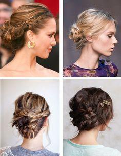 Love these unique braided updo ideas! | http://www.weddingpartyapp.com/blog/2014/10/14/fall-bridal-beauty-trends-wedding-day/