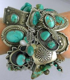 Calvin Martinez Easter Blue and Royston Turquoise Ingot Cluster Bracelet Turquoise Jewelry, Turquoise Bracelet, Silver Jewelry, Vintage Jewelry, Silver Rings, Navajo Jewelry, Southwest Jewelry, Hippie Chic, Maxi Collar