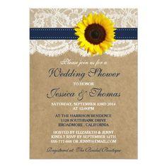 Rustic Sunflower On Kraft & Lace Wedding Shower 13 Cm X 18 Cm Invitation Card