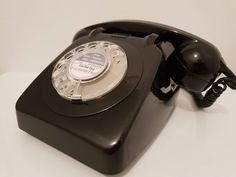 Original Vintage Retro 1960's GPO 706 Rotary Dial Black Telephone Restored
