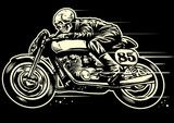 Vector: Hand drawing of skull riding vintage motorcycle