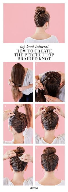 top knot tutorial: how to create the perfect top braided knot | via JustFab http://blog.justfab.com/2016/04/how-to-create-the-perfect-braided-top-knot/(How To Beauty Tips)