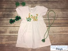 Kiss Me Irish Embroidered Onesie TShirt or Dress St Patrick's Day Girl St Patty's Day by DuitMommyDesigns on Etsy