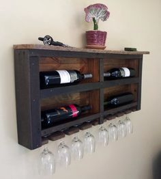 Reclaimed Pallet Wood Wine Rack with Red LED Lights and Top Shelf