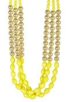 Gold & Yellow Triple Beaded Necklace