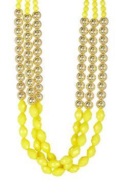Gold & Yellow Triple Beaded Necklace on HauteLook