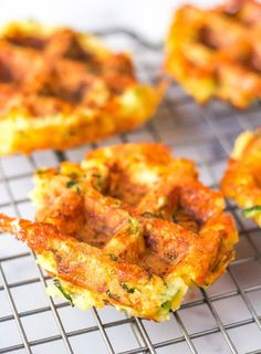 Zucchini Waffles ~ Keto friendly and cheesy mini waffles Zucchini Waffles, Healthy Waffles, Savory Waffles, Mini Waffle Recipe, Waffle Maker Recipes, Healthy Cooking, Healthy Recipes, Keto Recipes, Snacks Recipes