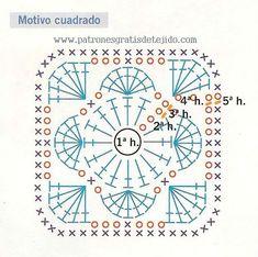 patron gráfico de cuadro crochet para sueter