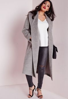 Missguided - Plus Size Belted Wool Coat Grey