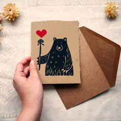 """Gefällt 64 Mal, 3 Kommentare - The Paper Forest (@thepaperforestshop) auf Instagram: """"Just in time for V-day is this glittery Bear Valentine, 'Bear With Me' ❤️❤️❤️ #print #printmaking…"""" Lino Design, Linocut Prints, Art Prints, Lino Art, Art Lessons For Kids, Linoprint, Print Ideas, Stencil Art, Valentine Heart"""