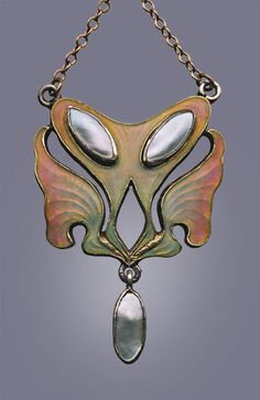 This is not contemporary - image from a gallery of vintage and/or antique objects. LEVINGER & BISSINGER Jugendstil Pendant attributed to Otto Prutscher Silver Gilt Enamel Pearl