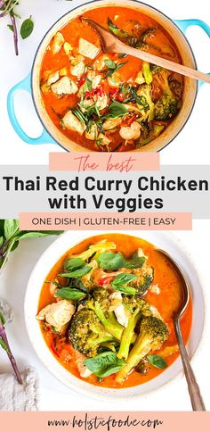 This Thai red curry chicken with rice and broccoli is packed with so much flavor, plus it comes together in about 40 minutes! Making this simple Thai red curry with coconut milk is quicker than takeout and perfect for a quick weeknight meal. Pair it with rice, or omit it for a grain-free alternative. #dairyfree #thaifood #thaicurry #healthydinner