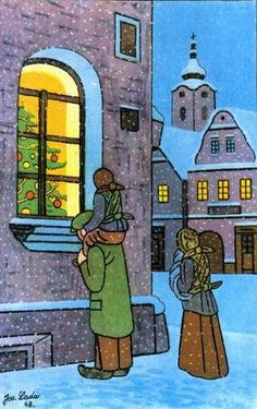 Josef Lada, Czech folk artist.. Christmas in Prague.