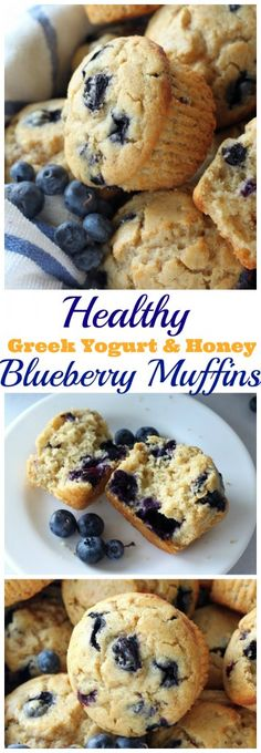 Healthy Greek Yogurt & Honey Blueberry Muffins
