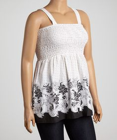 Another great find on #zulily! White & Black Floral Shirred Babydoll Top - Plus #zulilyfinds