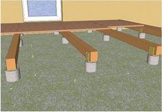 Pose d'une terrasse en bois sur plots en béton