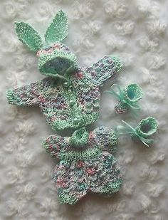 Green and multi onesie & jacket set of clothes for 6 inch OOAK sculpt  baby doll