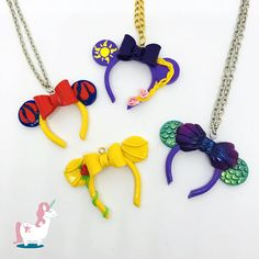 Disney Princess Snow white, Ariel, Belle and Rapunzel from Tangled inspired necklace pendant Minnie Ears Necklace Disney Jewelry Disney Clay Charms, Polymer Clay Disney, Polymer Clay Charms, Polymer Clay Earrings, Disney Necklace, Disney Jewelry, Disney Keychain, Disney Diy, Disney Crafts
