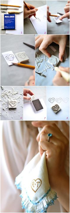 Stamp your wedding napkins with your hand carved monogram stamp!