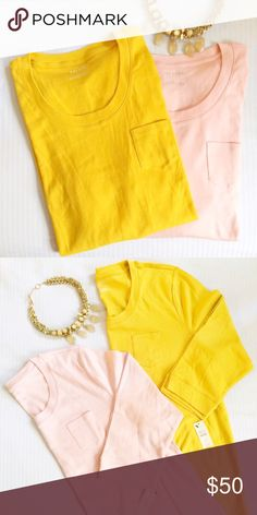 3/4 Sleeve Pocket Tees (2) NWT. Set of two 3/4 sleeved shirts with pocket. Colors: mustard yellow + tan/peach. Brand: Talbots. Listed for exposure. J. Crew Tops