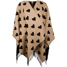 Burberry Heart Cape Merinowool Camel/Black (€995) ❤ liked on Polyvore featuring outerwear, camel capes, burberry cape, cape coat, burberry and camel cape coat