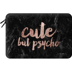 Macbook Sleeve - Modern rose gold typography Cute but psycho black... (200 PEN) ❤ liked on Polyvore featuring accessories, tech accessories and macbook sleeve