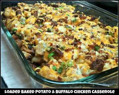 Loaded Chicken and Potatoes  Ingredients: 1 lb boneless chicken breasts, cubed (1″) 6-8 medium skin on red potatoes, cut in 1/2″ cubes 1/3 c olive oil 1 1/2 tsp salt 1 tsp black pepper 1 Tbsp paprika 2 Tbsp garlic powder 2 Tbsp hot sauce (more if you like it HOT)  Topping: 2 c fiesta blend cheese 1 c crumbled bacon 1 c diced green onion