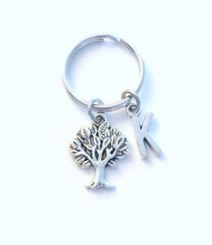 Gift for Environmentalist Keychain, Tree of life Key Chain, Forestry Officer Present, Men women him her Canadian Shop Seller Oak Leaf Nature by aJoyfulSurprise on Etsy Environmentalist, Personalized Charms, Birthstone Charms, Initial Charm, Key Chains, Key Rings, Birthstones, Antique Silver, Initials