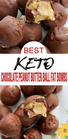 5 Ingredient Keto Chocolate Fat Bombs BEST Chocolate Peanut Butter Balls Fat Bombs Easy NO Sugar Low Carb Recipe - Keto fat bombs Keto Chocolate Fat Bomb, Low Carb Chocolate, Chocolate Peanut Butter, Chocolate Cheesecake, Chocolate Ganache, Coconut Recipes, Low Carb Recipes, Healthy Recipes, Cheese Recipes