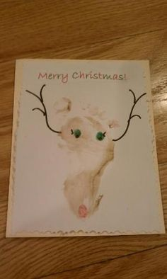 Child's foot print, super cute Homemade Christmas Cards by reva