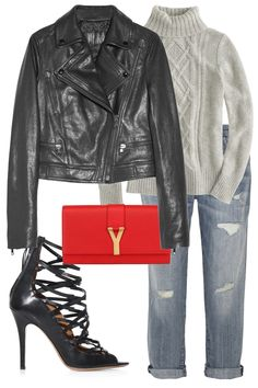 Turtleneck Sweater, Leather Jacket, sweet Heals, Red clutch little pop of color