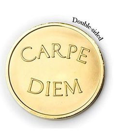 Mi Moneda Large Gold Plated Carpe Diem / Live the Life Coin from Michael Jones Jeweller