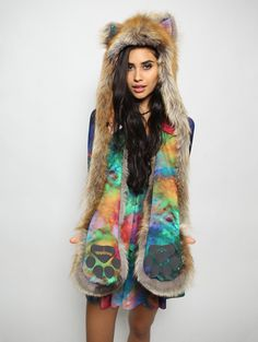 The BlackMilk Red Fox Rainbow Galaxy Collectors Edition faux fur animal inspired hood (100% Vegan). Unisex (one size fits most). Can't wait for mine to come!!!!