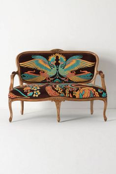 Stunning upholstery to a French settee frame • Anthropologie #Anthrofave