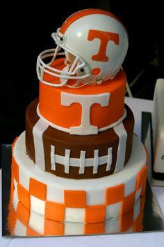 Football themed cake from Sweetpie's Bakery in Knoxville, TN www.sweetpiesbakery.com
