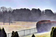 As the sun broke through, the fog began rolling along the ground very quickly - Endicott, NY 3/12/2016
