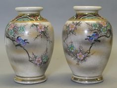 Fine Pair of Antique Satsuma Vases w Reversed Birds C 1900 Japanese Pottery | eBay