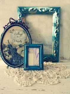 Teal Painted Frames. Tabletop frame set. Peacock par 3vintagehearts