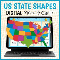 DIGITAL US Geography Memory Game - State Shape Matching Game | TpT Shape Matching, Matching Games, Us Geography, Fun Classroom Activities, Educational Games For Kids, Memory Games, Things To Do, Memories, Teaching